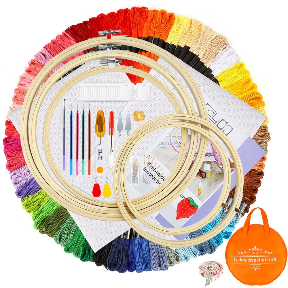 Caydo Embroidery Starter Kit Including 100 Skeins 50 Color Threads, 5 Pieces Bamboo Embroidery Hoops, 2 Pieces Aida Cloth, A Circular Packing Bag and Cross Stitch Tool Kit 4336934507