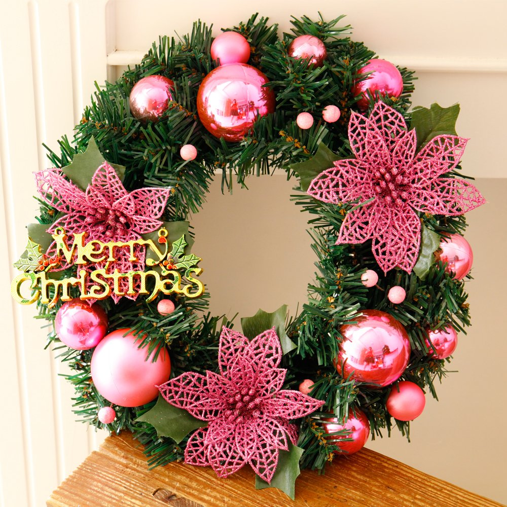 Christmas Wreaths for Front Door Decoration 12 Inch Xmas Gift Garland for Art Home Decors Windows Hanging Merry Christmas Party Decorated ,Pink