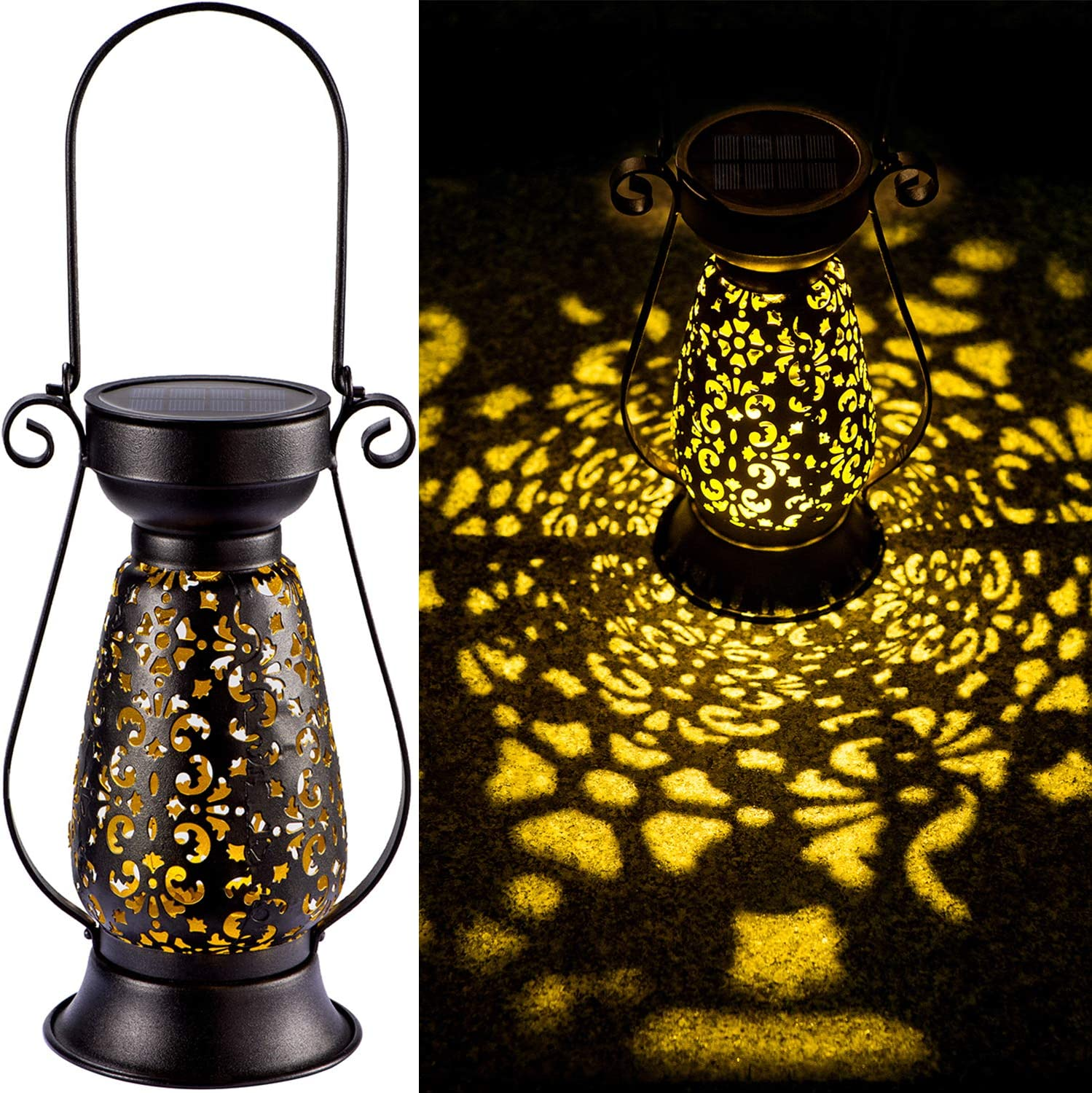 LeiDrail Solar Lantern Outdoor Garden Hanging Lanterns Retro Black Metal Decorative Light Warm White LED Waterproof Landscape Lighting for Yard Table Pathway Porch - 1 Pack