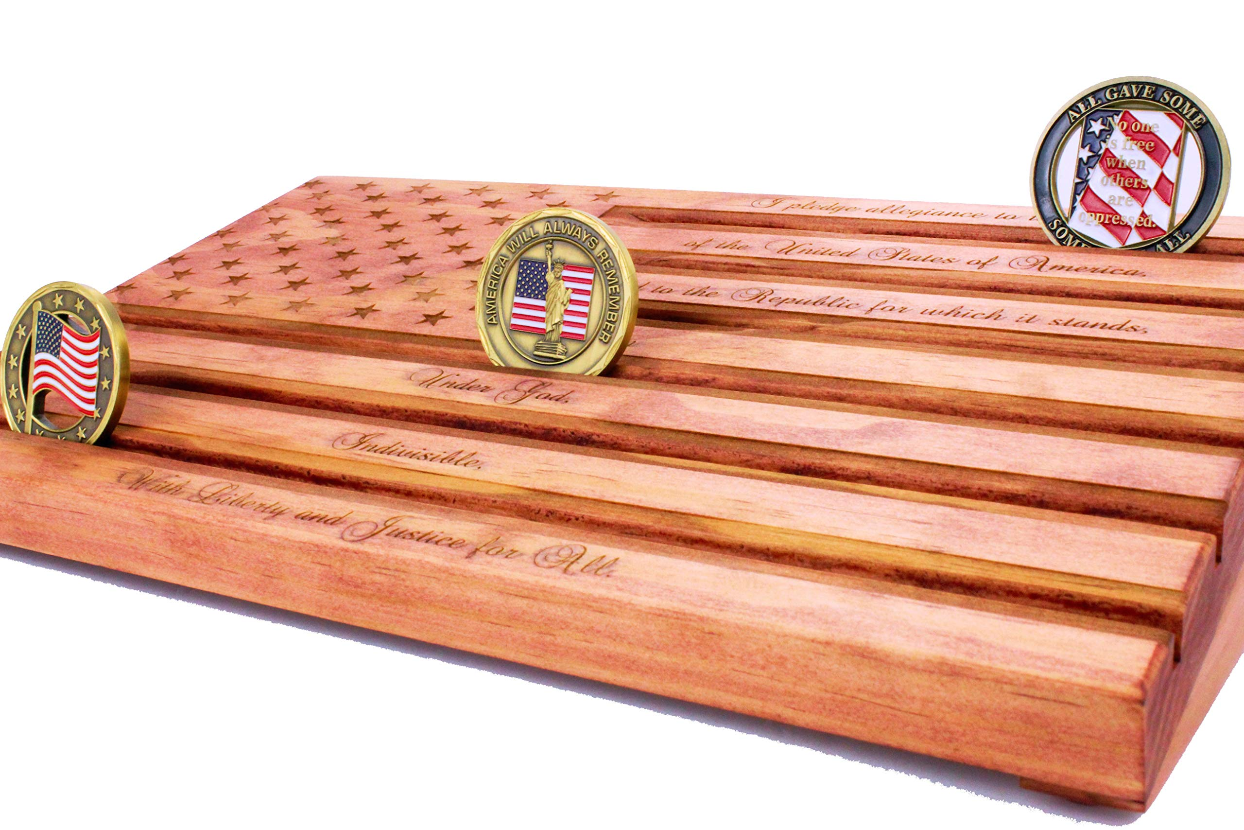 Red Pledge of Allegiance Challenge Coin Display by LOKI ENGRAVING