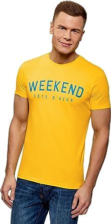 oodji Ultra Hombre Camiseta de Algodón con Inscripción: Amazon.es: Ropa y accesorios