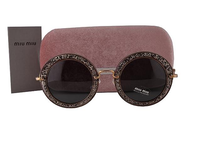bb223352266 Image Unavailable. Image not available for. Colour  Miu Miu MU13NS Sunglasses  Smoke Glitter Silver ...