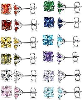 Cupimatch Boucles d'oreille pour femme en acier inoxydable zircons carrés couleurs (12paires), dimension au choix
