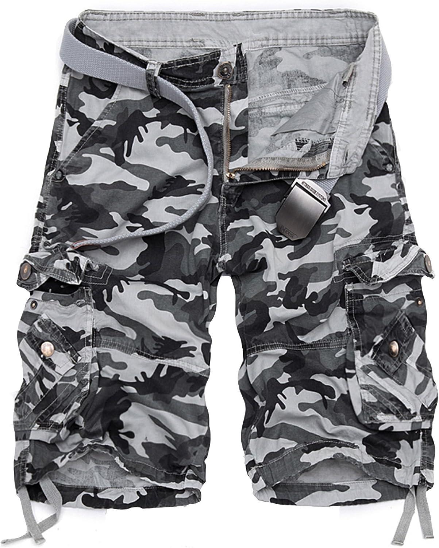 KEYBUR Relaxed Fit Outdoor Comouflage Camo Cargo Shorts for Men