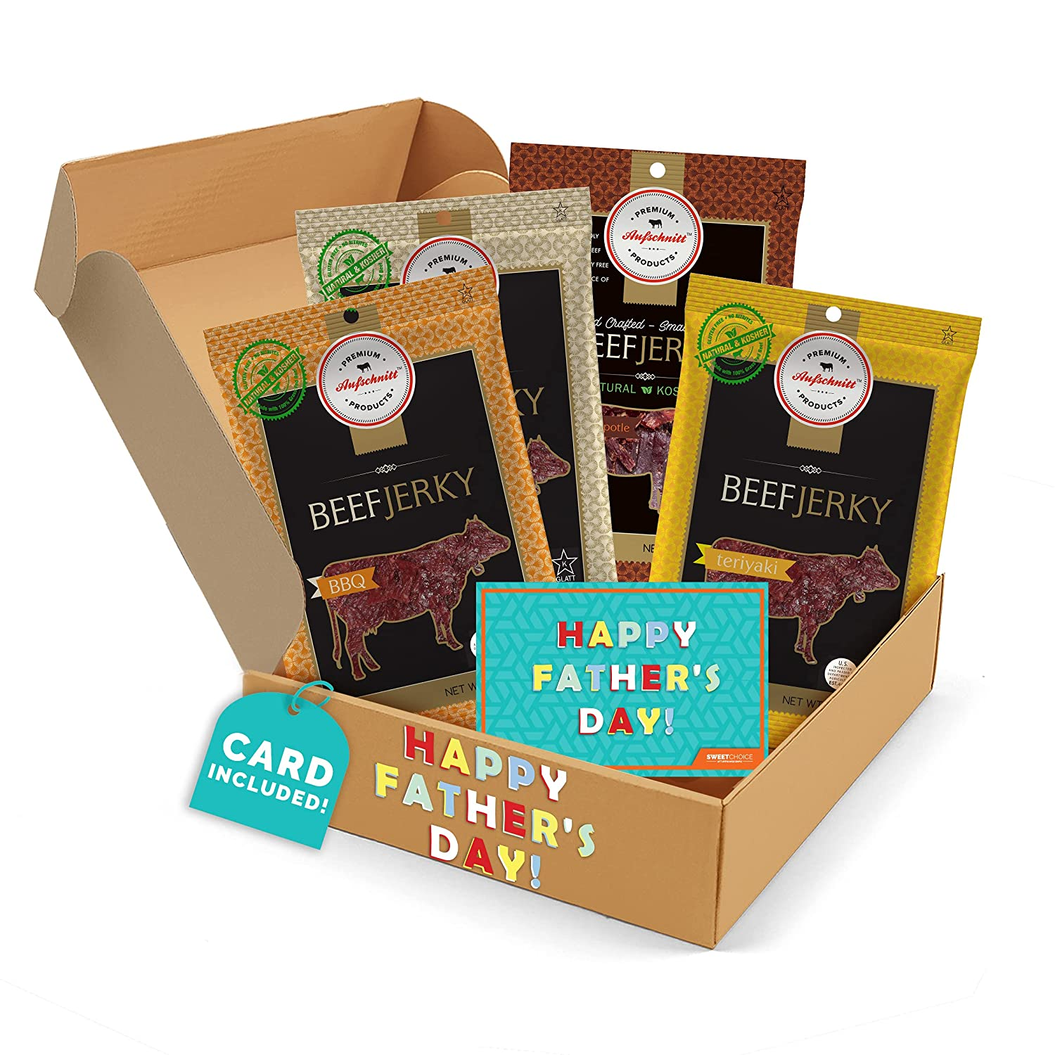 Gift baskets For Fathers day Gifts for Dad Beef Jerky - Jerky Box - Simple & Savory - Dad Gift for Men - Protein Snacks Military Care Package - Best Father's Day Gifts for Him - Meat Snack Sampler Gift Basket - 4 Bags