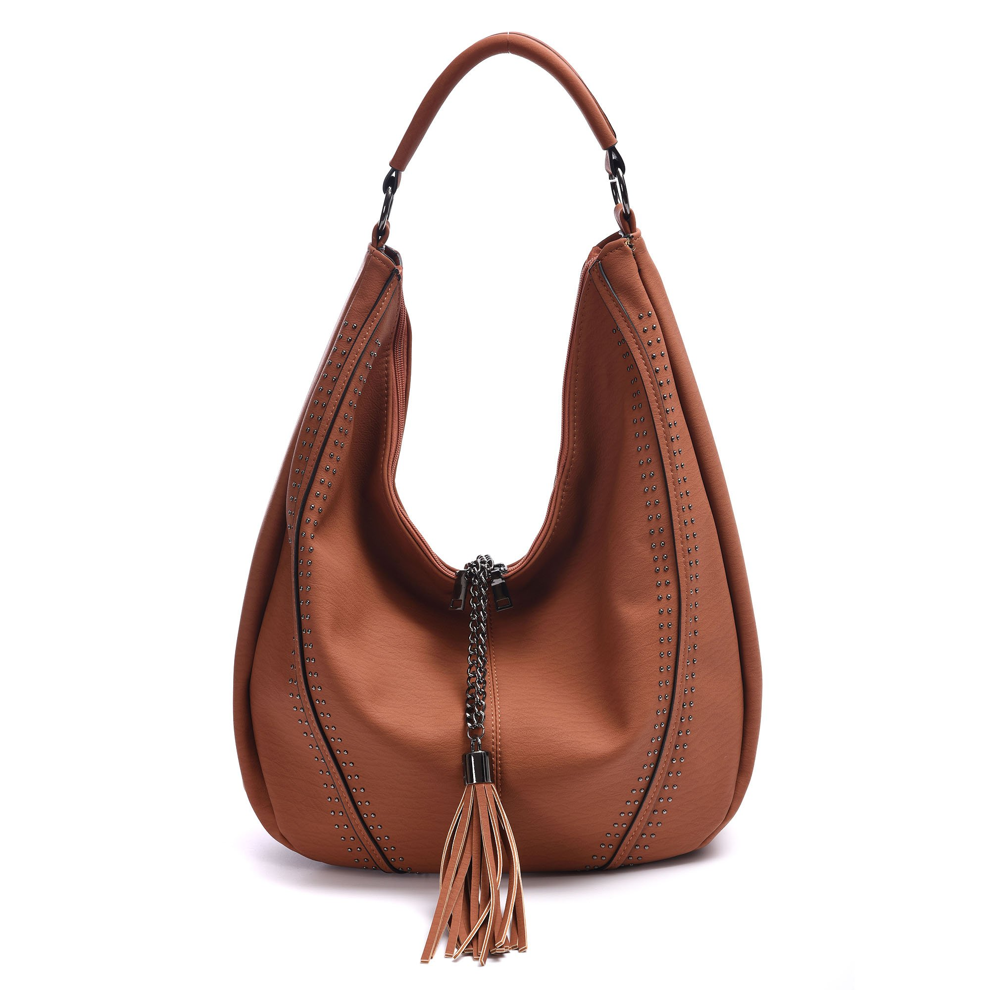 Handbags for Women, Hobo Shoulder Bags Of PU Leather Large Compacity Tote Purses With Tassel Decoration (Brown)
