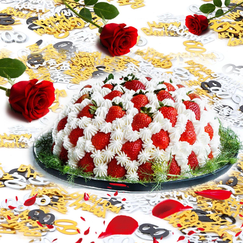 Konsait 60th Birthday Decoration Hanging Swirl 15 Counts Happy 60 Table Confetti 105oz Black Ceiling Decor