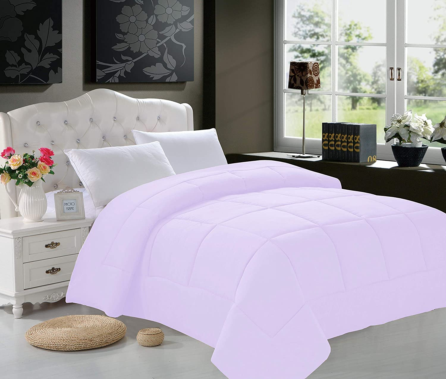 Elegant Comfort Luxury Goose Down Alternative Double-Filled Comforter, Twin, Lilac