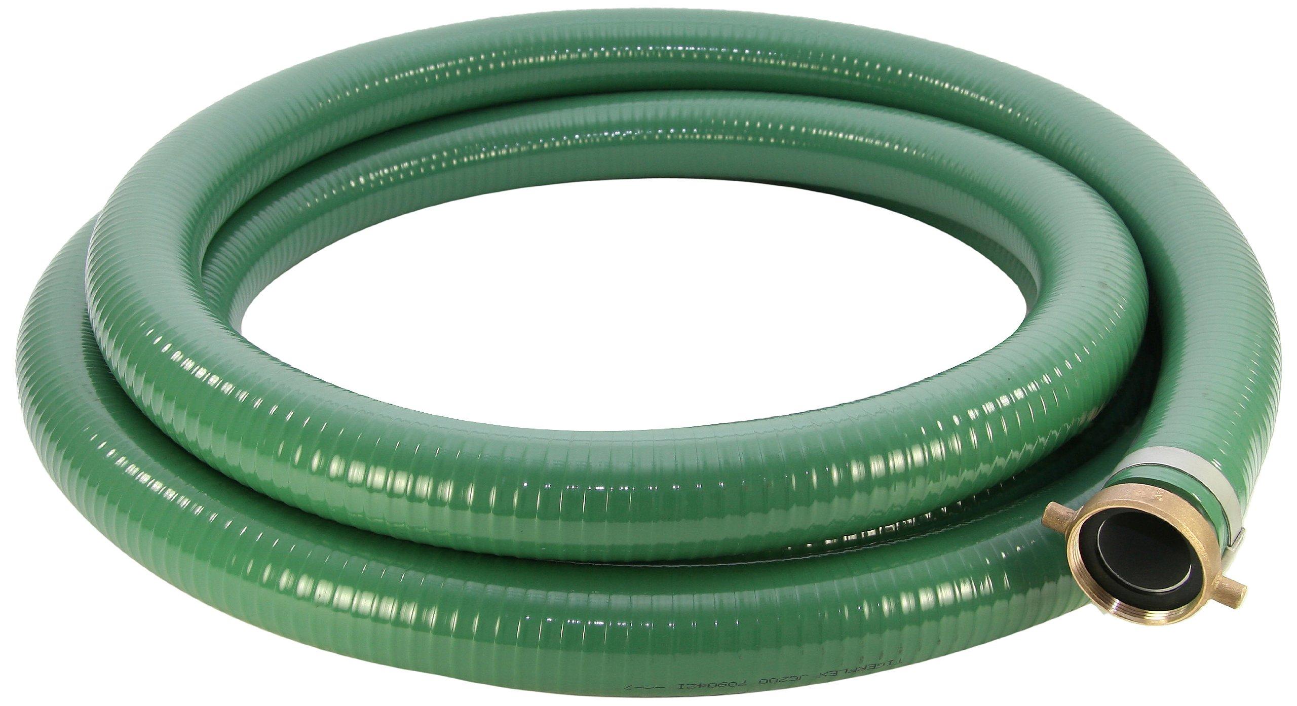 Abbott Rubber PVC Suction Hose Assembly, Green, 2'' Male X Female NPSM, 65 psi Max Pressure, 25' Length, 2'' ID
