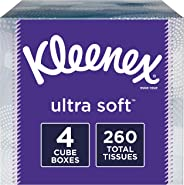 Kleenex Ultra Soft Facial Tissues, 4 Cube Boxes, 65 Tissues per Box (260 Tissues Total)