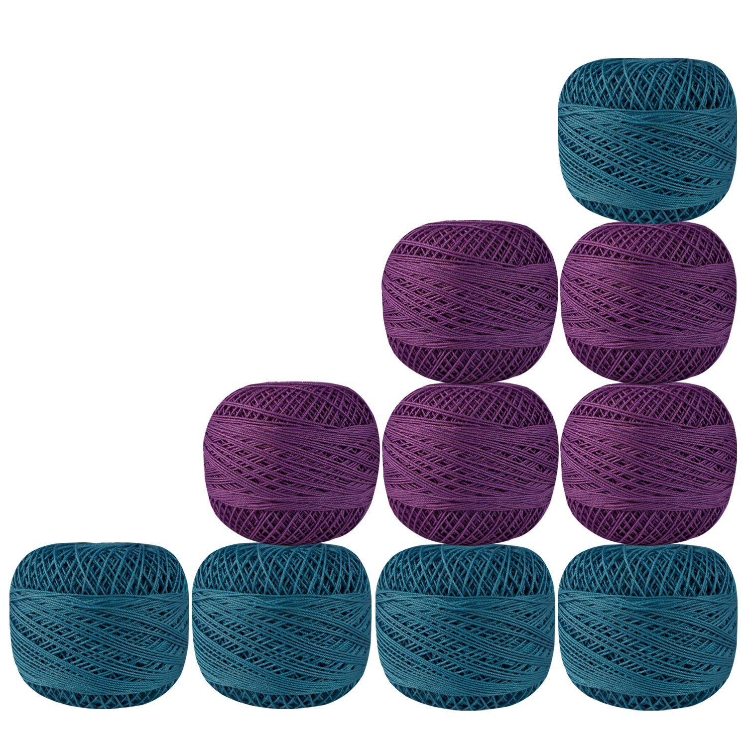 Lot of 10 Pcs Purple and Turquoise Blue Cotton Crochet Thread Yarn Tatting Doilies Skeins Lacey Craft