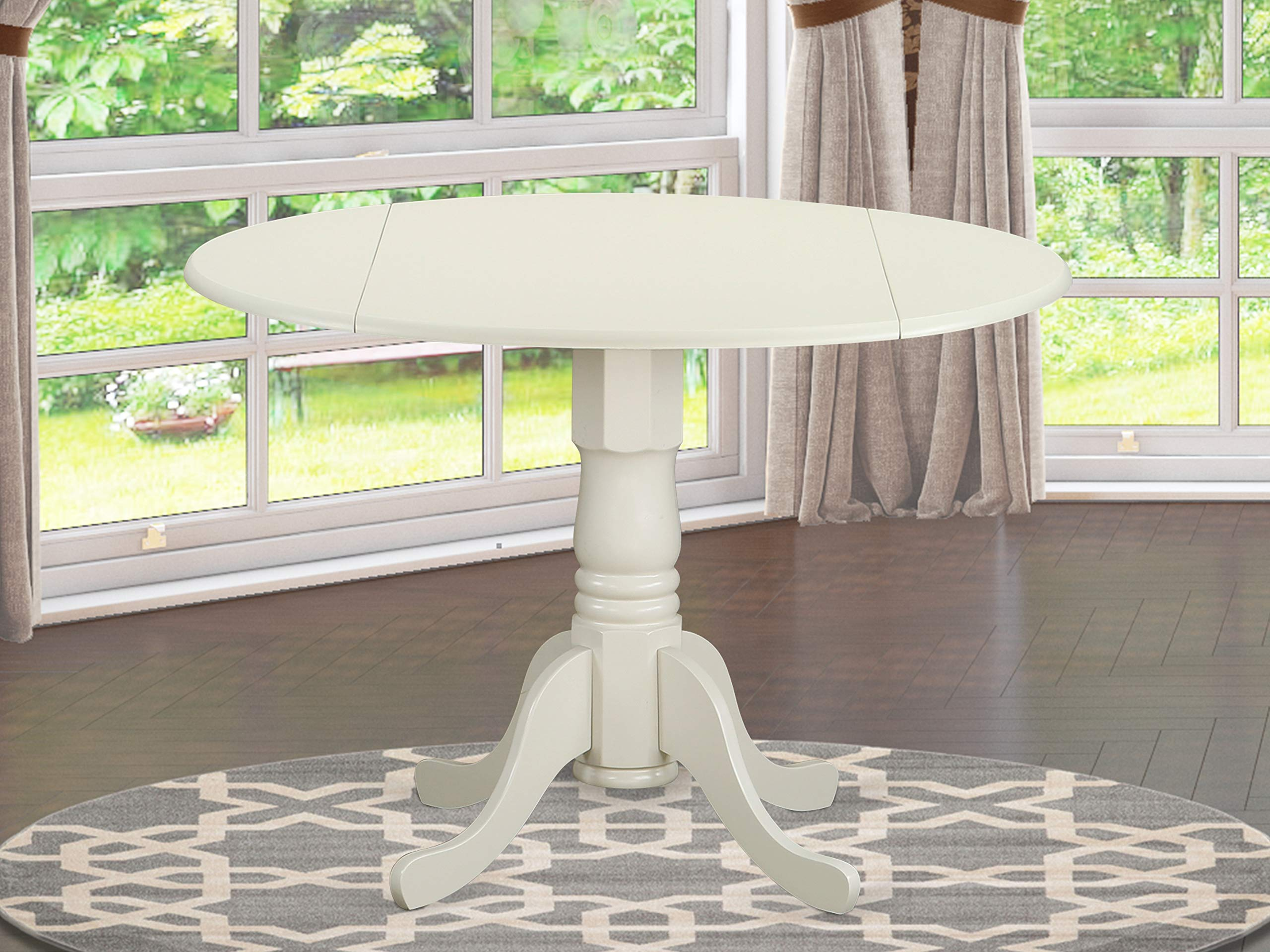 East West Furniture DLT-WHI-TP Round Table with Two 9-Inch Drop Leaves by East West Furniture