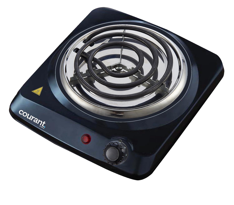 Courant Electric Burner, Single Buffet Countertop Hotplate, 1000W Portable Cooktop, Black