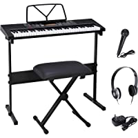 Smartxchoices 61-Key Portable Electronic Keyboard Piano LCD Display Keyboard Kit with Adjustable Stand, Stool…