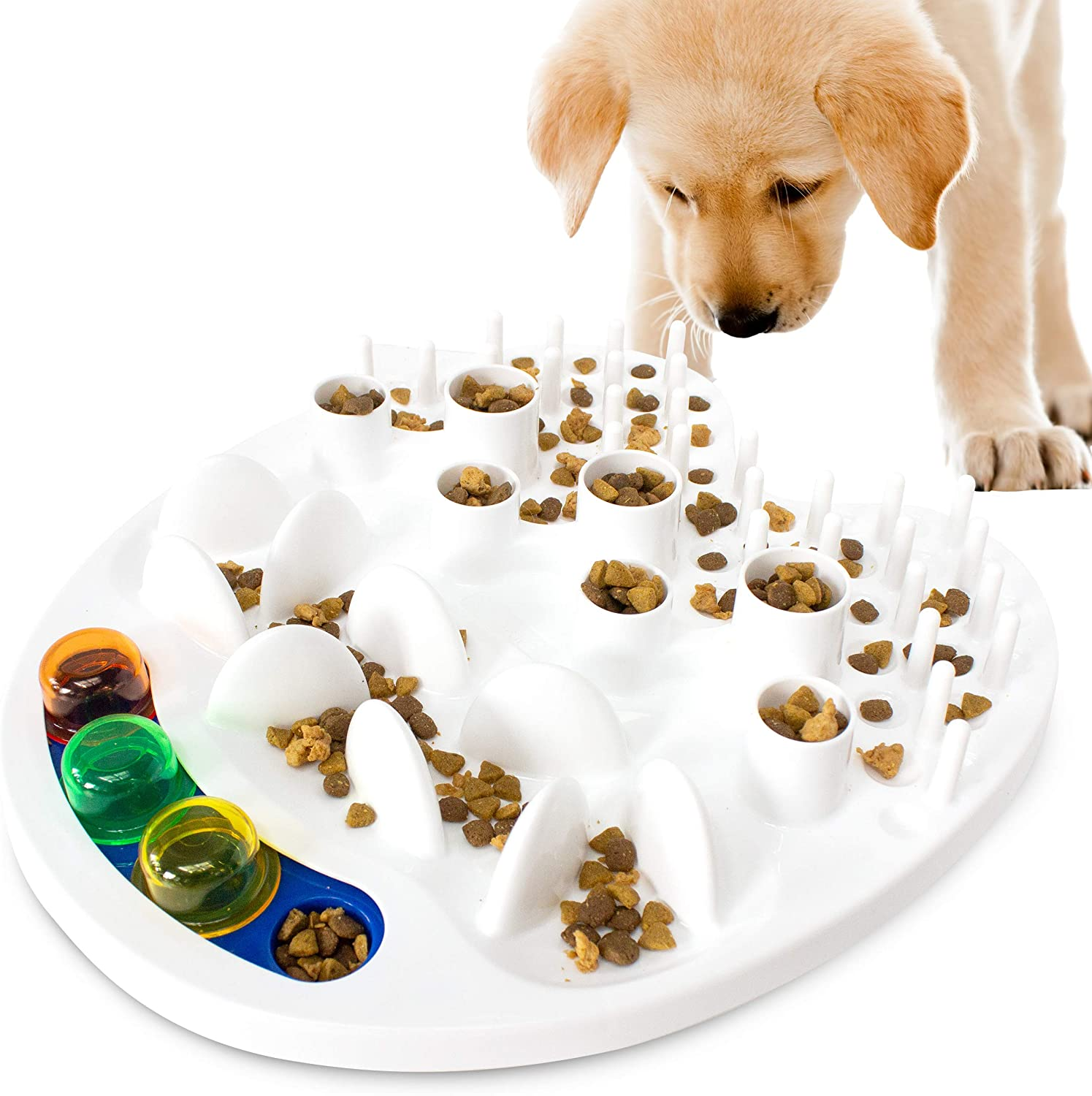 Downtown Pet Supply Slow Feed Food Bowl, Fun Maze Puzzle Designs Anti-Gulping No Choke Pet Feeders, Interactive Toy Feeding Game for Small, Medium, and Large Dogs (Interactive Toy Feeder)