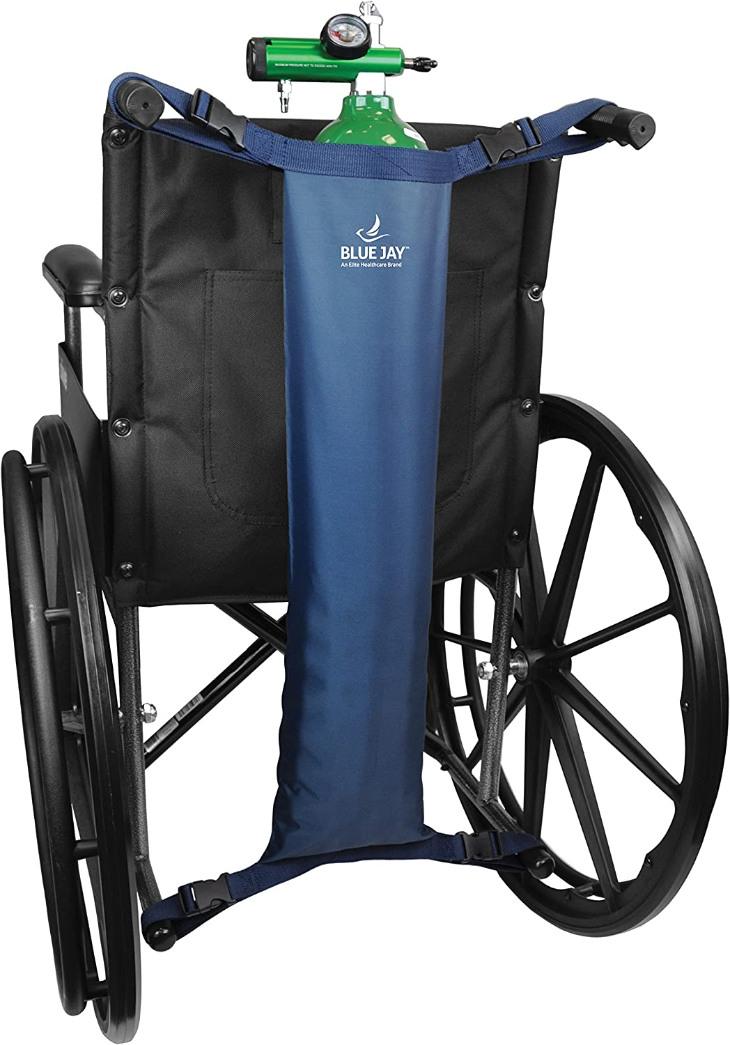 Blue Jay An Elite Healthcare Brand Hold My Tank Oxygen Tank Bag for Fits Any Wheelchair| Easy-to-Adjust Quick Release Buckles with Extra Long Straps | Waterproof Nylon Mask | Respiratory Aids: Health & Personal Care