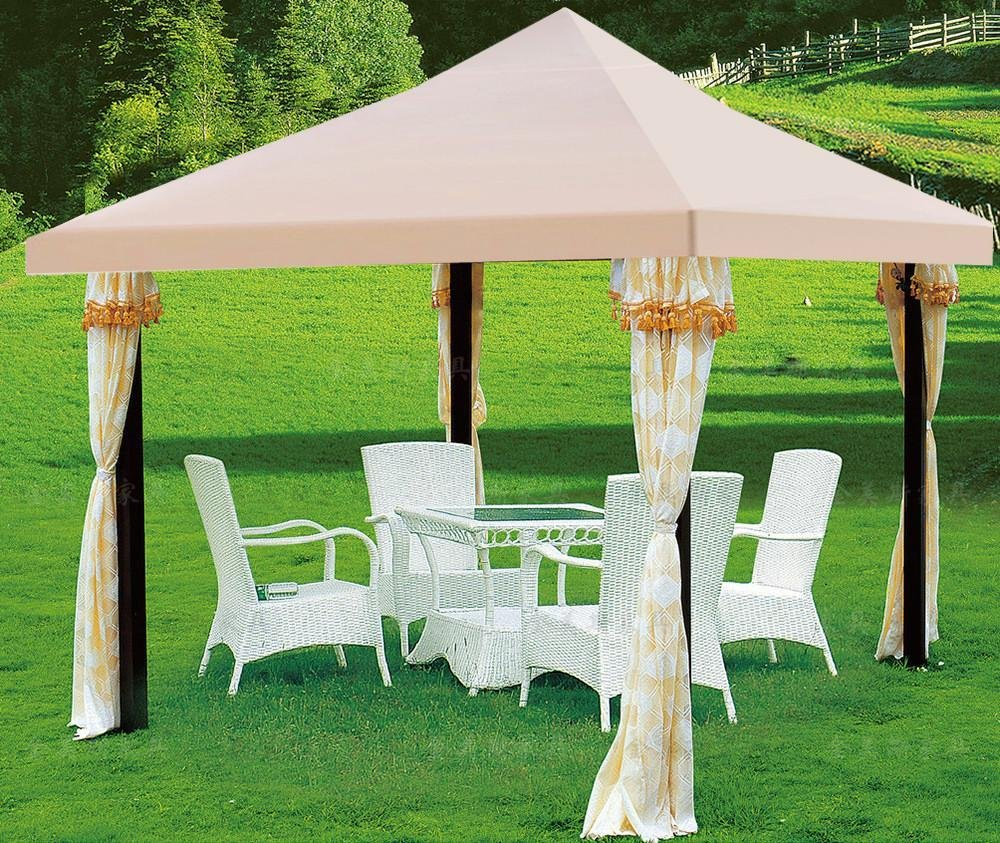 outdoortips 1-Tier Replacement Top Fabric for 3x3m Gazebo Pavilion Roof Beige US New