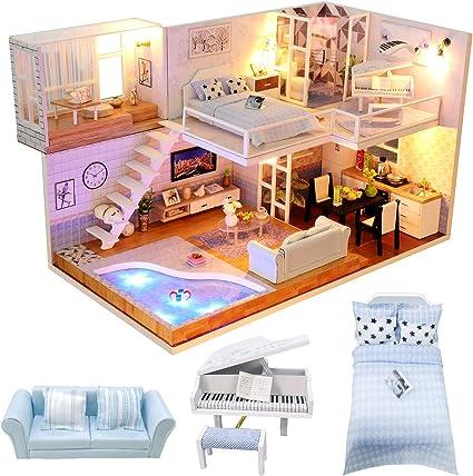 1//24 Miniature DIY Wood Doll House Vintage Retro Living Room with Furniture LED Light