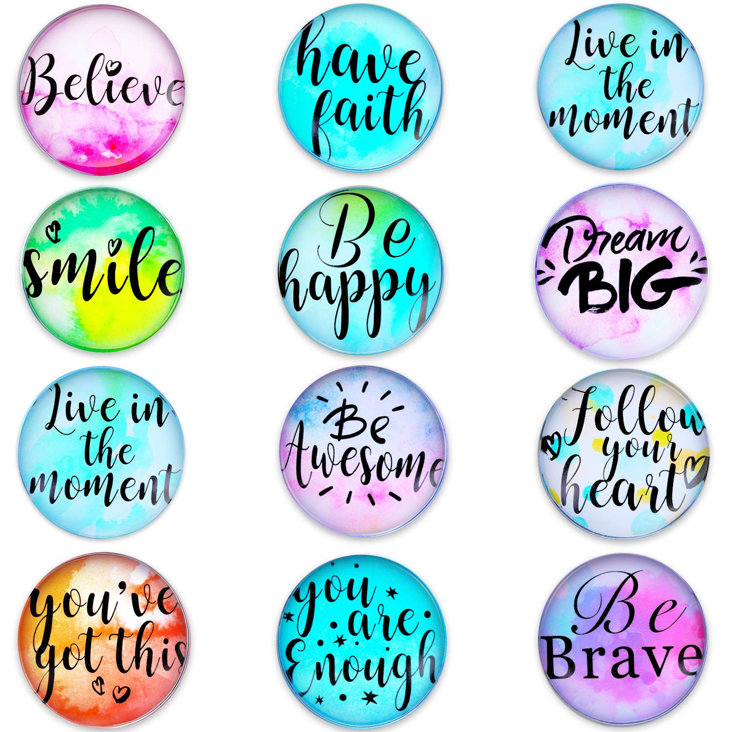 12 Pieces Motivational Glass Fridge Magnets Inspirational Quote Refrigerator Magnets for Classroom Whiteboard Locker Fridge Supplies