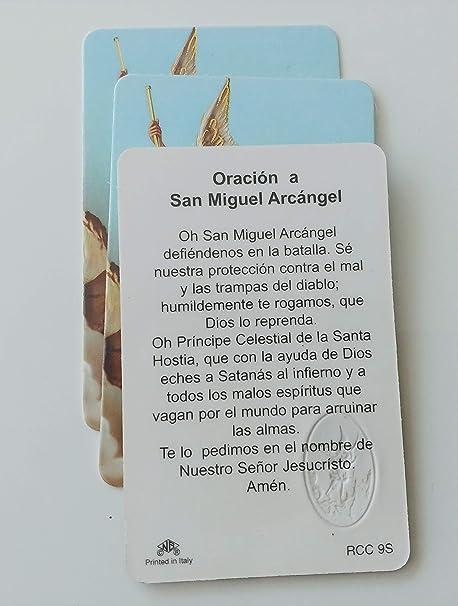 Tarjetas Laminadas Con Oracion & Sello Dorado De San MIguel Arcangel Set De 12