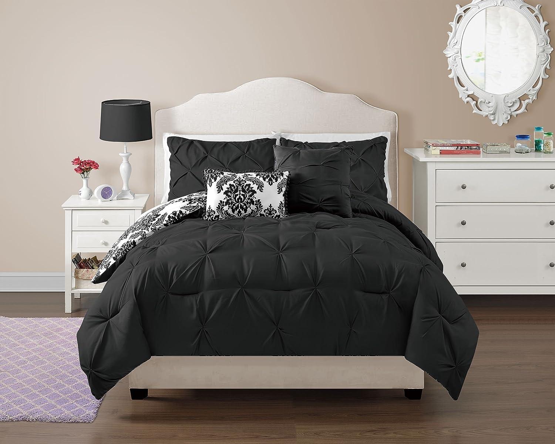 VCNY 5 Piece Chelsea Reversible Comforter Set, Full, Black