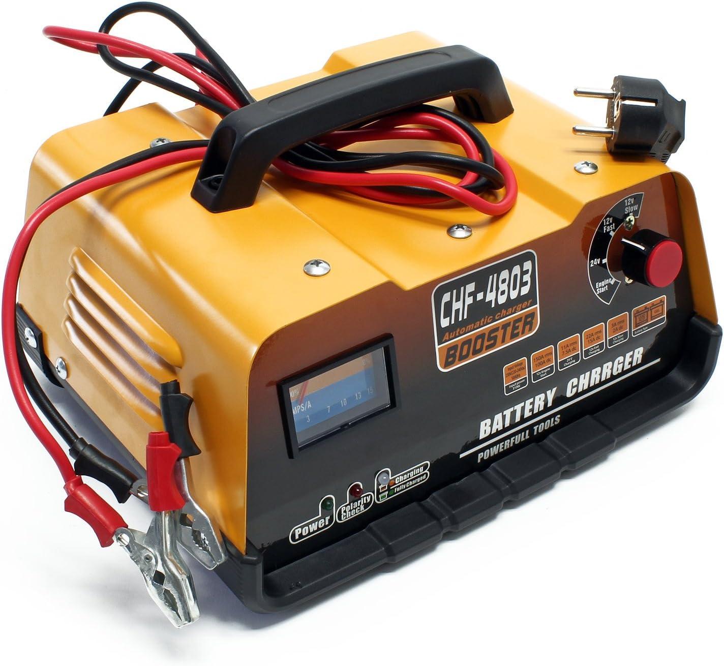 Cargador Batería Vehiculos 12V/ 24V Cargador Bateria Coche Funcion Arranque Rapido Amperimetro