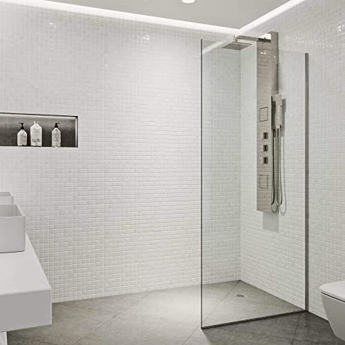 VIGO Zenith 34 in. x 74 in. Frameless Fixed Shower Screen in Stainless Steel with Clear Glass