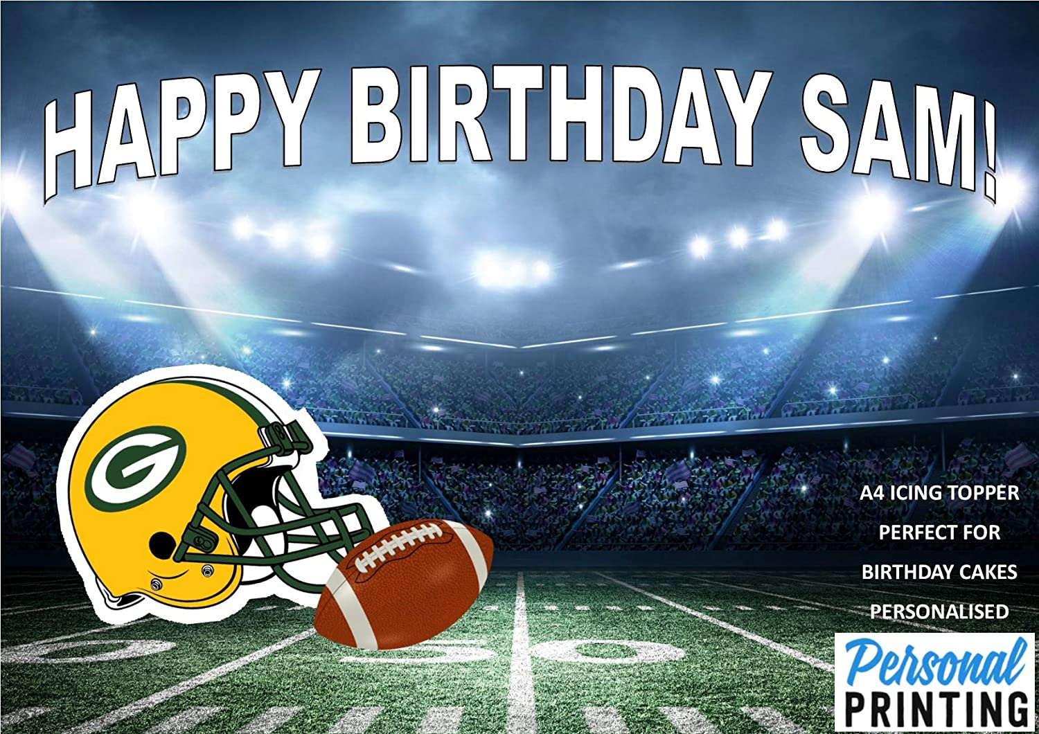 Green Bay Packers American Football Or Text Personalised Name Age Happy Birthday A4 Easy Peel Pre Cut Edible Icing Sheet Cake Topper Decoration Amazon Co Uk Grocery