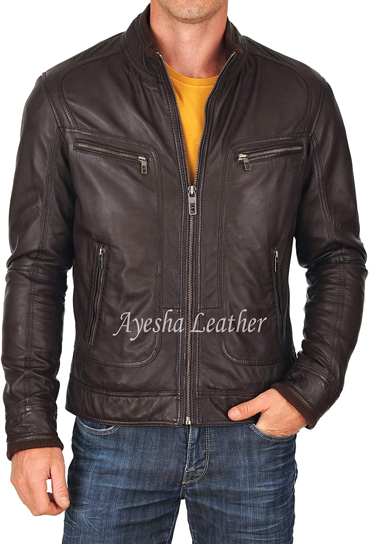 Ayesha Mens Leather Jackets Motorcycle Bomber Biker Genuine Lambskin 29