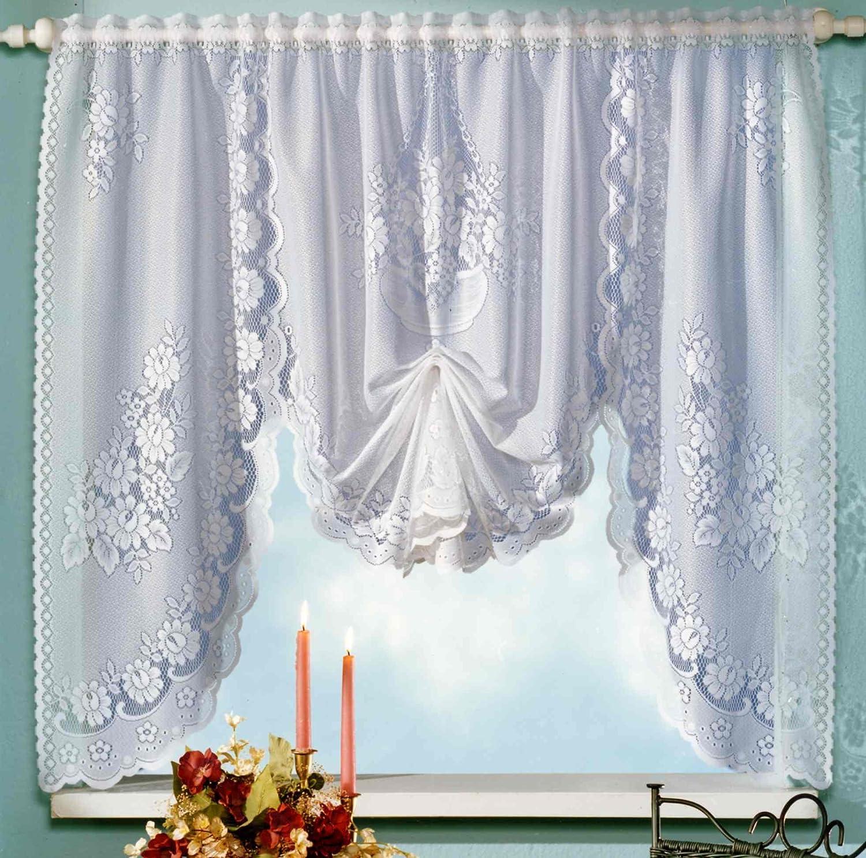 M dell' arco Tendina in Bianco Fiori jacquard finestra immagine HXB 120x 150cm–Tenda alto Raff–Store typ14 heimtexland