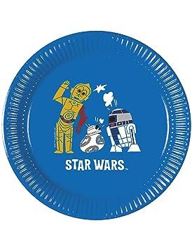 Generique - 8 Platos cartón Star Wars Forces 20 cm: Amazon ...