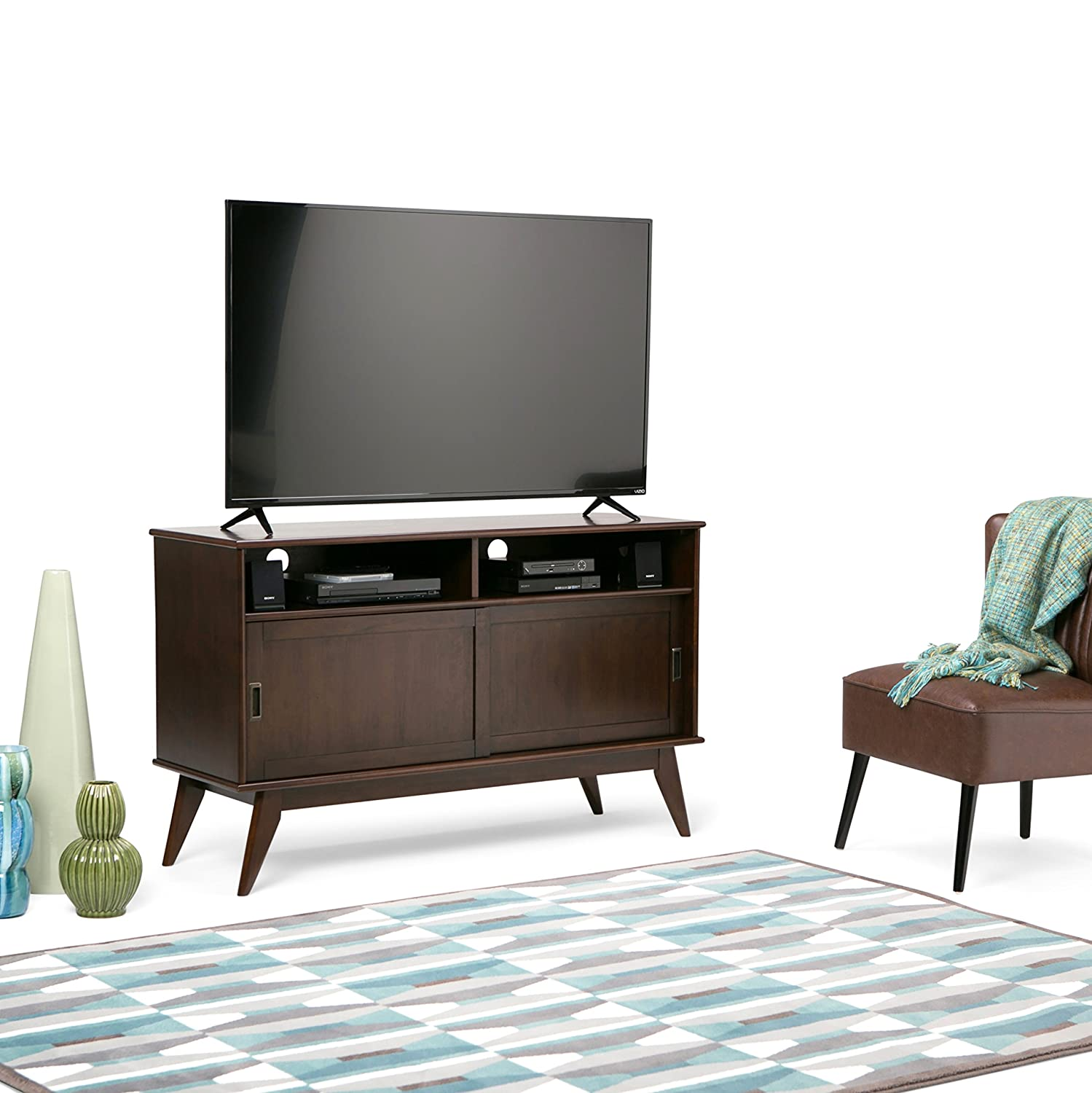 Simpli Home 3AXCDRP-09 Draper Solid Hardwood 54 inch wide Mid Century Modern TV media Stand in Medium Auburn Brown For TVs up to 60 inches