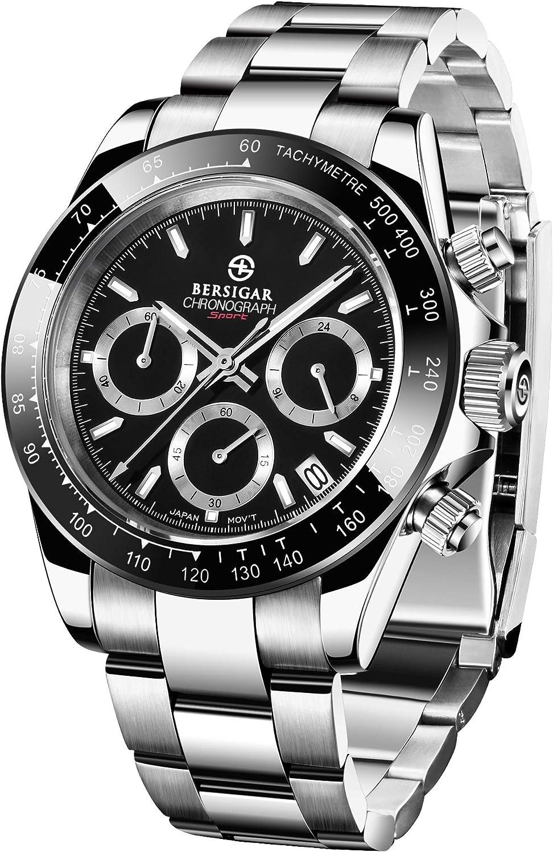 BERSIGAR Reloj multifunción para Hombre Relojes a Prueba de Agua Reloj de Pulsera con Correa de Acero Inoxidable Informal para Hombres…