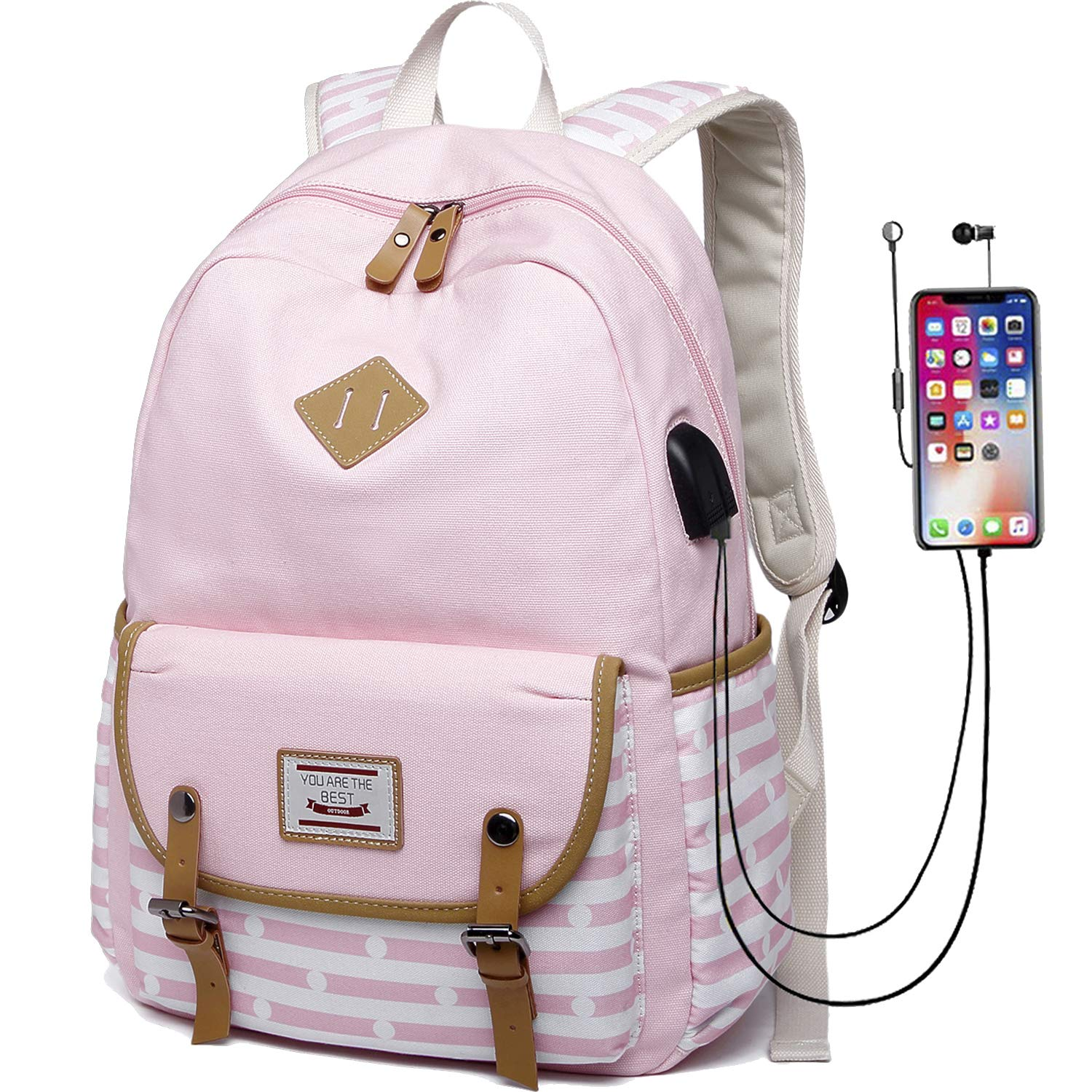 6667f1505f3753 Amazon.com | Canvas Travel Laptop Backpacks Womens College Backpack School  Bag 15 inch USB Daypack Outdoor (619-Pink) | Backpacks
