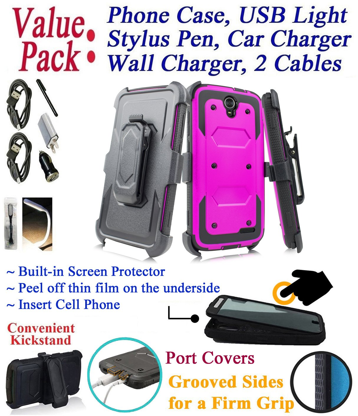 Value Pack + for 5.5'' ZTE Grand X3 grandx3 Warp 7 warp7 case Screen Protector Phone Case 360° Cover Clip Holster Kick Stand Armor Shock Bumper (Peach)