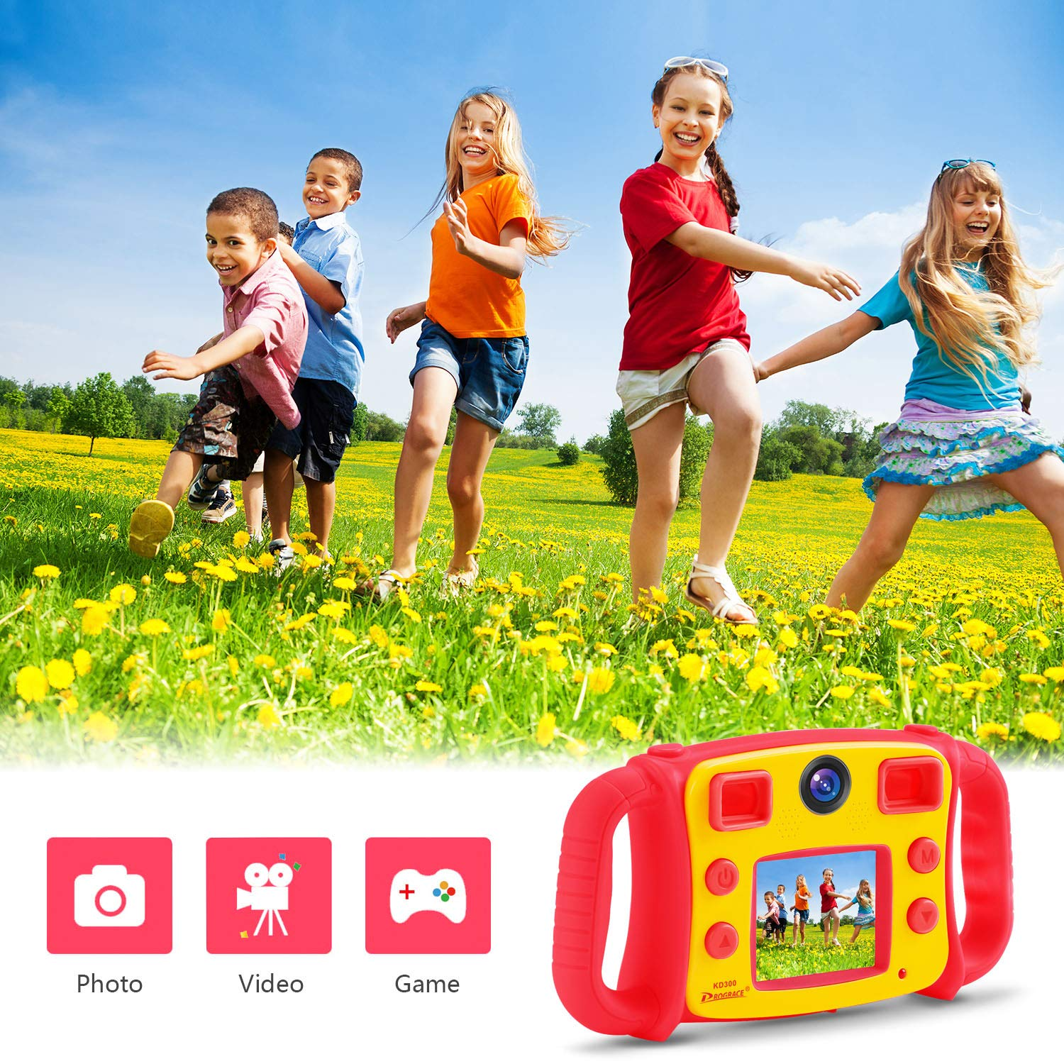 Prograce Kids Camera Dual Camera Selfie Digital Video Camera Camcorder for Boys Girls with 4X Digital Zoom, Flash Light and Funny Game(Red) by Prograce (Image #3)