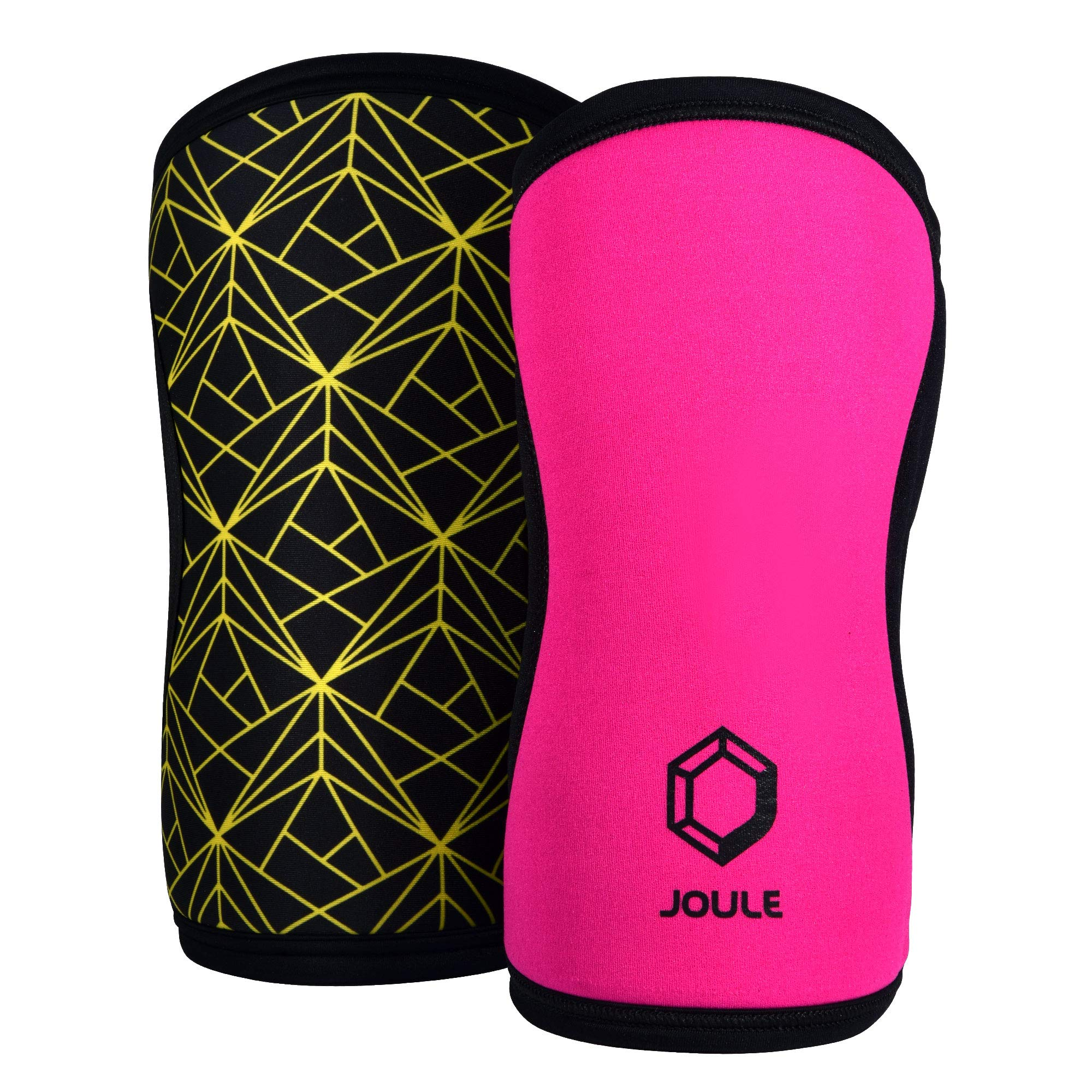 JOULE Active Reversible Knee Sleeve - 7mm Pair of 2 Neoprene Sleeves with Compression for Weightlifting, Powerlifting, and Crossfit - (Pink/Yellow, Small)