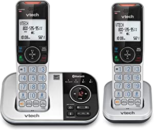 VTECH VS112-2 DECT 6.0 Bluetooth 2 Handset Cordless Phone for Home with Answering Machine, Call Blocking, Caller ID, Intercom and Connect to Cell (Silver & Black) (Renewed)