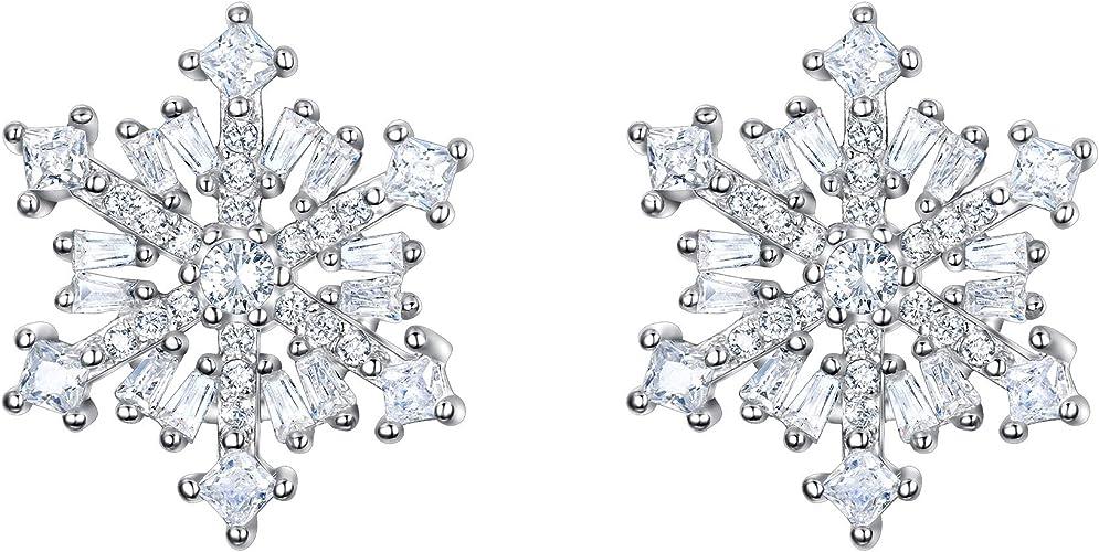 EVER FAITH Winter Snowflake Flower Jewelry for Women Girl 925 Sterling Silver Zircon Inspired