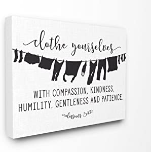 The Stupell Home Decor Collection Clothe Yourselves with Compassion Clothesline Stretched Canvas Wall Art, 24 x 30, Multicolor