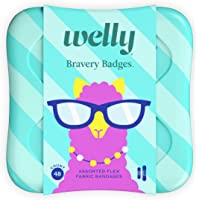 Welly Bandages - Bravery Badges, Flexible Fabric, Adhesive, Standard Shapes, Peculiar Pets - Llama, Sloth, Narwhal…