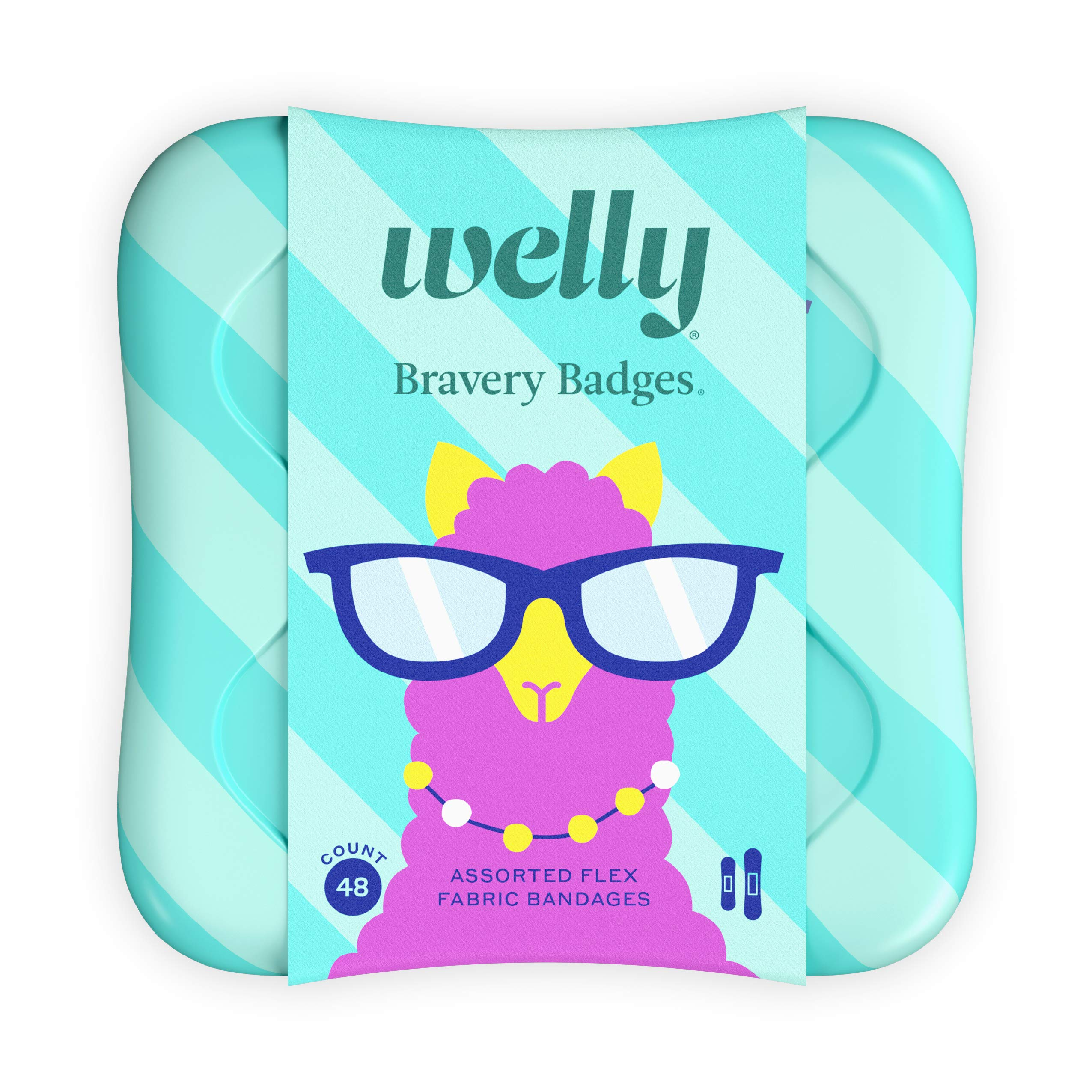 Welly Bandages - Bravery Badges, Flexible Fabric, Adhesive, Standard Shapes, Peculiar Pets - Llama, Sloth, Narwhal Patterns - 48 Count