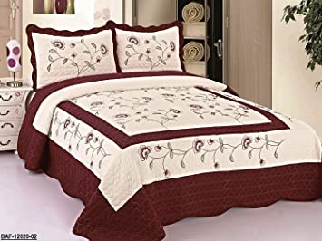 3pcs High Quality Fully Quilted Embroidery Quilts Bedspread Bed Coverlets  Cover Set , Queen King (