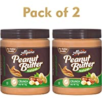 Alpino Natural Peanut Butter Crunch (Unsweetened, 1 kg Each) Pack of 2
