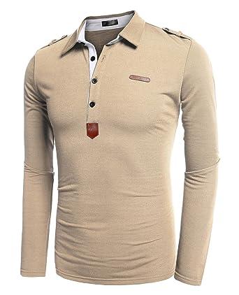 582951efbd7 Coofandy Polo T-shirt à Manches longues pour Homme Casual Baissez Col  Solide -Beige