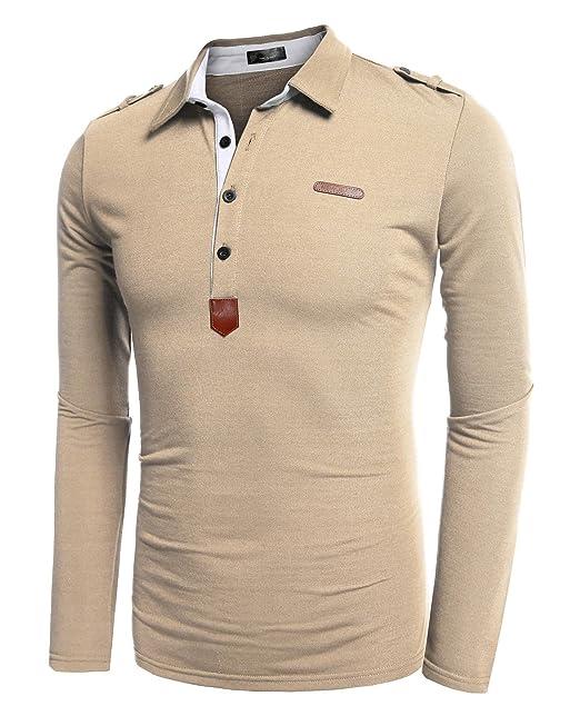 Coofandy Polos Manga Larga Hombre Casual Cuello Clásico Slim Fit con  Botones  Amazon.es  Ropa y accesorios a81bf78765c51
