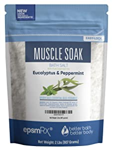 Muscle Soak Bath Salt 32 Ounces Epsom Salt with Peppermint and Eucalyptus Essential Oils Plus Vitamin C and All Natural Ingredients BPA Free Pouch With Easy Press-Lock Seal