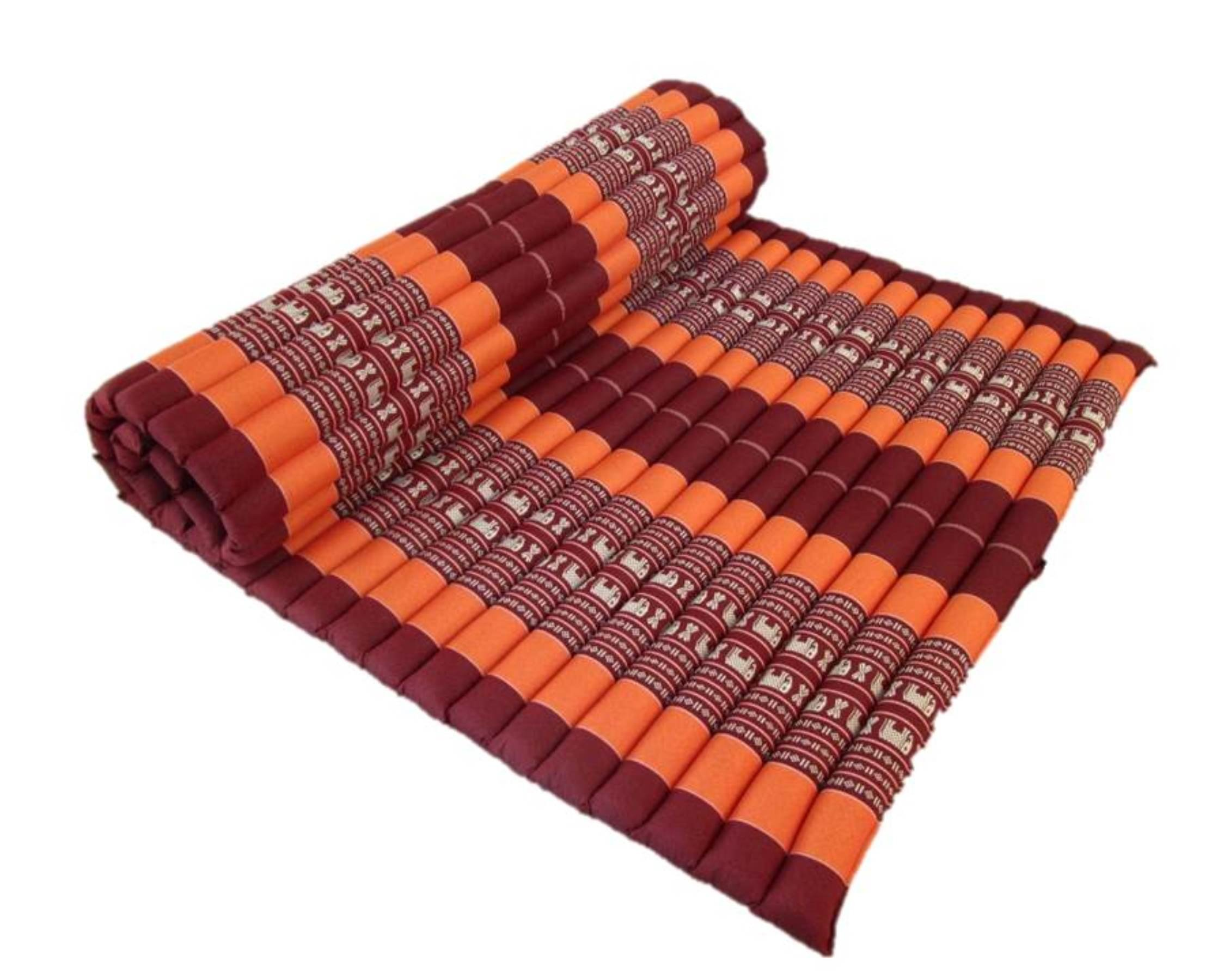 Large Kapok Stuffing Thai Yoga Mattress Roll Up Camping Sleeping Mat Meditation Cushion 80 Inches (Elephant Tangerine)
