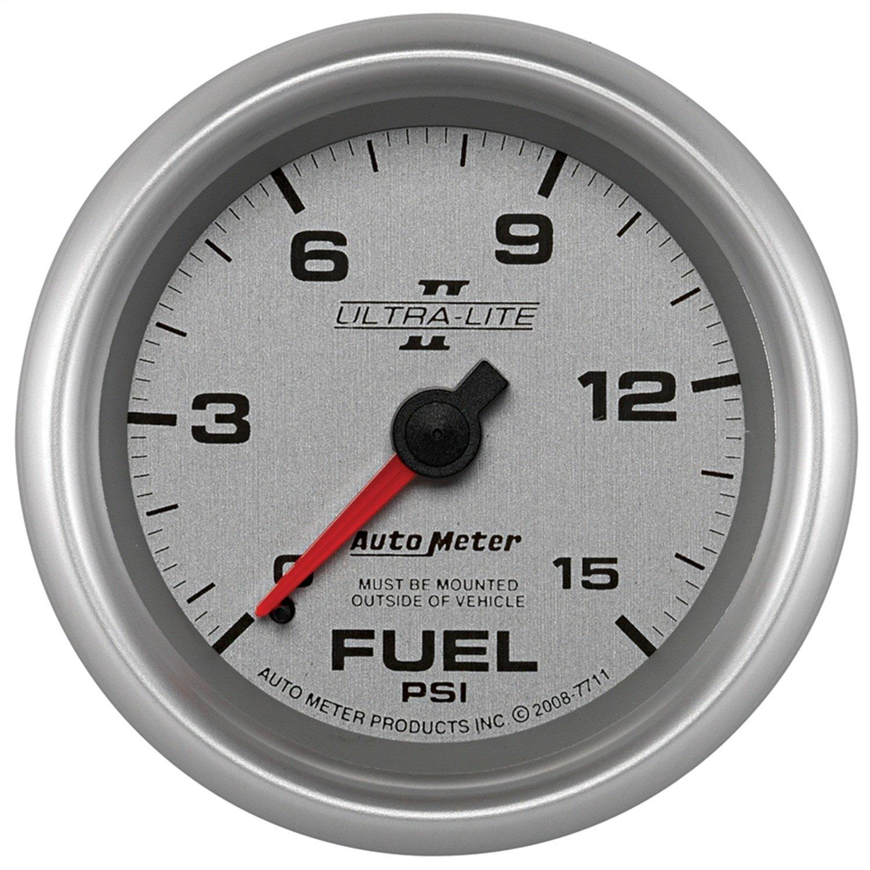 Auto Meter 7711 Ultra-Lite Pro II 2-5/8'' 0-15 PSI Mechanical No Tube Fuel Pressure Gauge