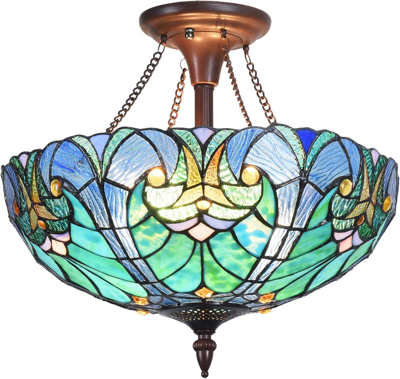 Cotoss Tiffany Style Ceiling Light Fixtures, 2-Light Semi Flush Tiffany Ceiling Lights, 16 Inch Wide Blue Stained Glass Ceiling Light, Tiffany Style Ceiling Flush Mount: Home Improvement